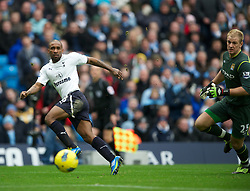 MANCHESTER, ENGLAND - Sunday, January 22, 2011: Tottenham Hotspur's Jermain Defoe scores the second goal against Manchester City during the Premiership match at the City of Manchester Stadium. (Pic by David Rawcliffe/Propaganda)