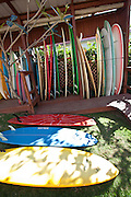 Surfboards stacked at Mar Azul surf shop in Rincon Puerto Rico