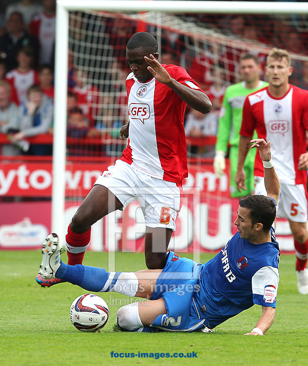 Picture by Paul Terry/Focus Images Ltd +44 7545 642257.01/09/2012.Hope Akpan (L) of Crawley Town and Lean McSweeney of Leyton Orient during the npower League 1 match at Broadfield Stadium, Crawley.
