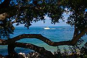 Pleasure power boat sailing in Gulf of Mexico off coast of Captiva Island, Florida USA