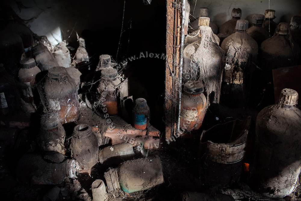 Chemical products are laying in the packaging room of the abandoned, derelict Union Carbide (now DOW Chemical) industrial complex, still standing in Bhopal, Madhya Pradesh, central India, site of the infamous '1984 Gas Tragedy'. The poisonous cloud that enveloped Bhopal left everlasting consequences that today continue to consume people's lives.