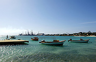 Fisherman boats near Baby Beach and the refinery, Aruba.<br /> Vissersbootjes vlak bij Baby Beach en de raffinaderij, Aruba