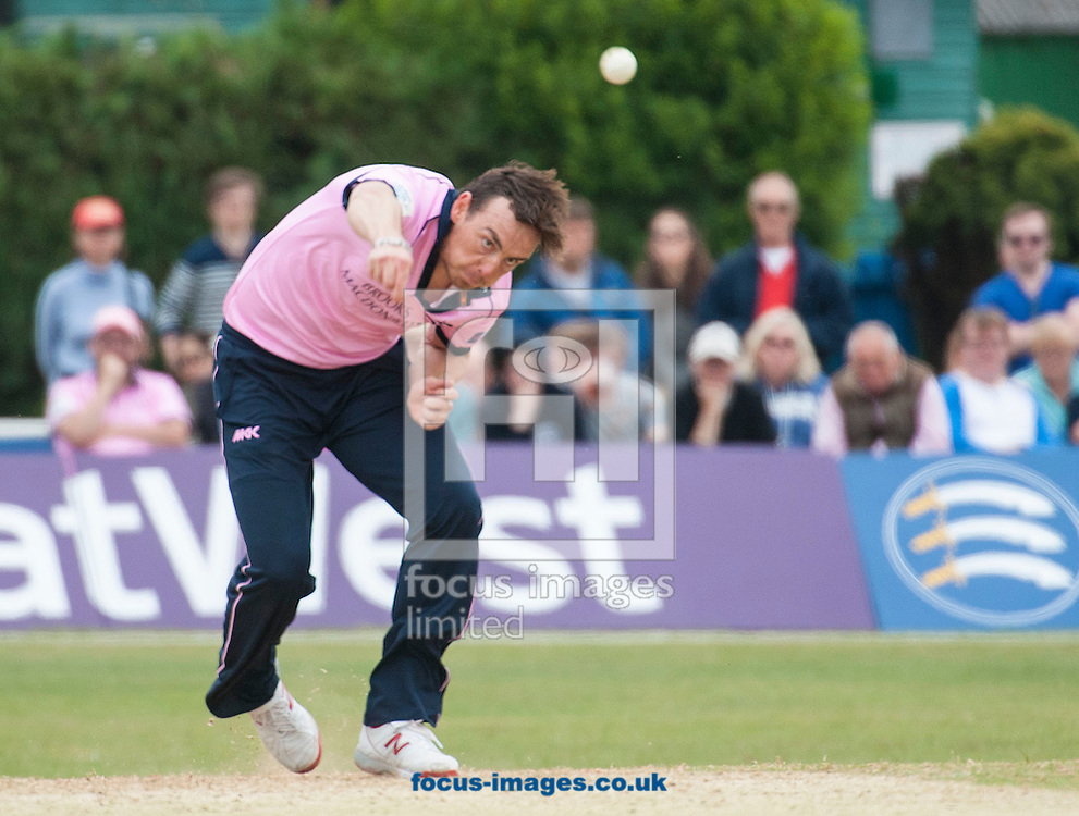 Kyle Abbott of Middlesex bowls during the Natwest T20 Blast match at Old Deer Park, Richmond<br /> Picture by Jack Megaw/Focus Images Ltd +44 7481 764811<br /> 14/06/2015