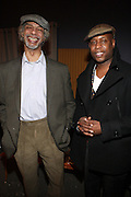 l to r: Gil Scott-Heron and Talib Kweli backstage at The National Black Writers Conference Concert Presents Gil Scott Heron, Talib Kweli & Gary Bartz Produced by Jill Newman Productions and held at Littlefield on March 27, 2010 in Brooklyn, New York. Terrence Jennings/Retna, Ltd..**exclusive**