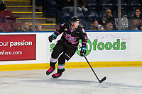 KELOWNA, BC - SEPTEMBER 21:  Jake Poole #10 of the Kelowna Rockets skates with his stick against the Spokane Chiefs at Prospera Place on September 21, 2019 in Kelowna, Canada. (Photo by Marissa Baecker/Shoot the Breeze)