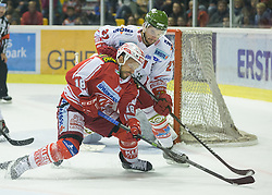 27.09.2015, Stadthalle, Klagenfurt, AUT, EBEL, EC KAC vs HCB Suedtirol, im Bild Thomas Koch (EC KAC, #18), Hofer Roland (HCB Suedtirol #21) // during the Erste Bank Eishockey League match betweeen EC KAC and HCB Suedtirol at the City Hall in Klagenfurt, Austria on 2015/09/27. EXPA Pictures © 2015, PhotoCredit: EXPA/ Gert Steinthaler