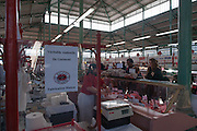 Rennes, FRANCE. General Views GV's. Rennes weekly regional market. Brittany,<br /> Vegetable's, Fruit, Flowers, Fish, Game, Meat, Cheese, local wine and cider, sold from stalls in the open and covered market  <br /> <br /> 09:17:36  Saturday  26/04/2014 <br /> <br />  [Mandatory Credit: Peter Spurrier/Intersport<br /> Images]