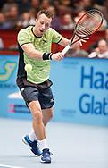 PHILIPP KOHLSCHREIBER (GER) Rueckhand,action, Aktion, Einzelbild, Ganzkoerper, <br /> <br /> Tennis - ERSTE BANK OPEN 2017 - ATP 500 -  Stadthalle - Wien -  - Oesterreich  - 27 October 2017. <br /> &copy; Juergen Hasenkopf