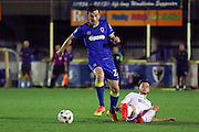 AFC Wimbledon defender Sean Kelly (22) during the EFL Trophy match between AFC Wimbledon and U23 Swansea City at the Cherry Red Records Stadium, Kingston, England on 30 August 2016. Photo by Stuart Butcher.