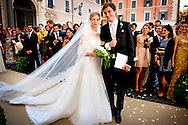 ROME - 5-7-2014 - Wedding Royal marriage of Belgium Prince Amedeo and Lili (Elisabetta) Rosboch von Wolkenstein at the Basilica di Santa Maria in Trastevere in Rome, Italy.  COPYRIGHT ROBIN UTRECHT