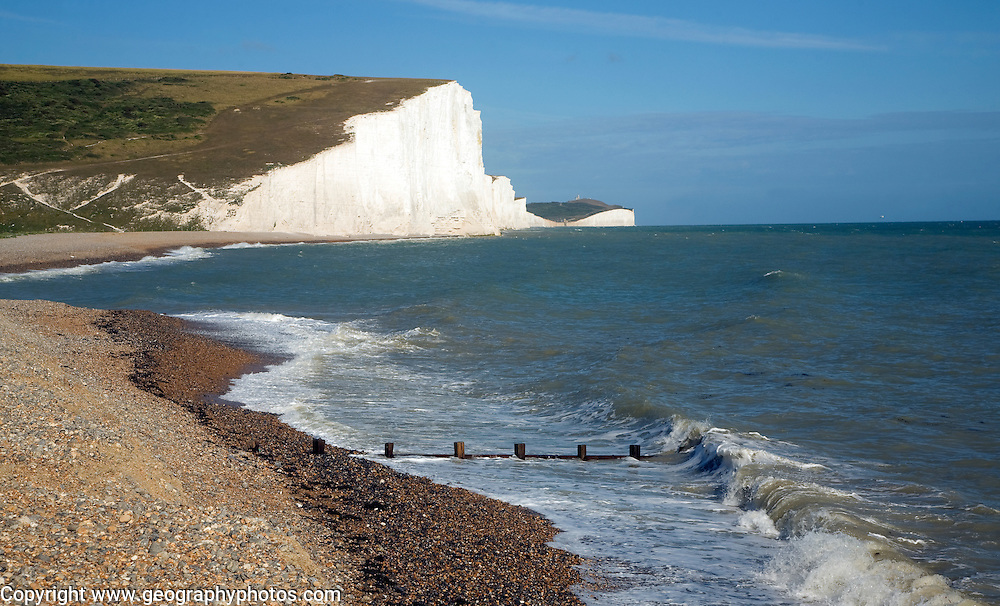 Chalk cliffs of the Seven Sisters from Cuckmere Haven beach, East Sussex, England