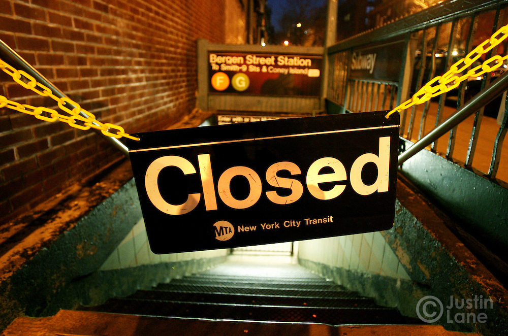 A closed subway station is seen after New York City transit workers went on strike Tuesday 20 December 2005 in Brooklyn, NY. Negotiations between the transit workers union and the Metropolitan Transit Authority broke down during talks Monday night, and the union called a strike early Tuesday morning.