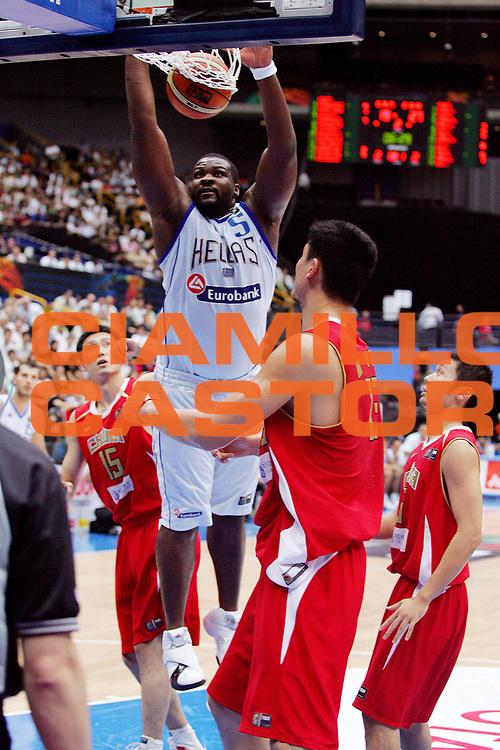 DESCRIZIONE : Saitama Giappone Japan Men World Championship 2006 Campionati Mondiali Greece-China <br /> GIOCATORE : Schortsianitis <br /> SQUADRA : Greece Grecia <br /> EVENTO : Saitama Giappone Japan Men World Championship 2006 Campionato Mondiale Greece-China <br /> GARA : Greece China Grecia Cina <br /> DATA : 27/08/2006 <br /> CATEGORIA : Schiacciata <br /> SPORT : Pallacanestro <br /> AUTORE : Agenzia Ciamillo-Castoria/G.Ciamillo <br /> Galleria : Japan World Championship 2006<br /> Fotonotizia : Saitama Giappone Japan Men World Championship 2006 Campionati Mondiali Greece-China <br /> Predefinita :