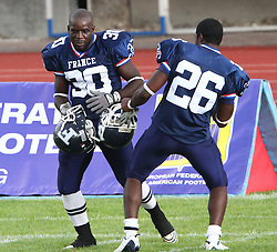 25.07.2010, Wetzlar Stadion, Wetzlar, GER, Football EM 2010, Team Sweden vs Team France, im Bild Freudentanz von Mickael Mayindou, (Team France, RB, #30) und Tony Rayapin, (Team France, DB, #26) nach dem Sieg,  EXPA Pictures © 2010, PhotoCredit: EXPA/ T. Haumer / SPORTIDA PHOTO AGENCY