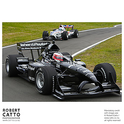 Jonny Reid leads Robbie Kerr at the A1 Grand Prix of New Zealand at the Taupo Motorsport Park, Taupo, New Zealand.