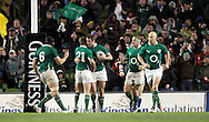 Photo © SPORTZPICS / SECONDS LEFT IMAGES 2010 / Colm O'Neill - Ireland's Ronan O'Gara (21) congratulates Tommy Bowe on scoring a try - Ireland v South Africa - Guinness Series 2010 - Aviva Stadium - Dublin - Ireland - 06/11/10 - All rights reserved