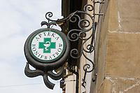 Apteka or Chemist sign in Krakow Poland