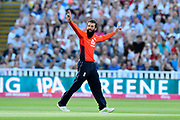 Wicket - Moeen Ali of England celebrates taking the wicket of Travis Head of Australia during the International T20 match between England and Australia at Edgbaston, Birmingham, United Kingdom on 27 June 2018. Picture by Graham Hunt.