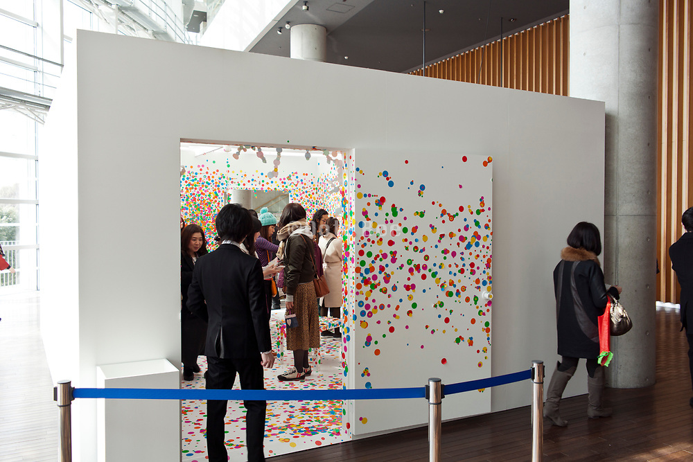 Obliteration room at Yayoi Kusama: My Eternal Soul The National Art Center in Tokyo Japan February 2017