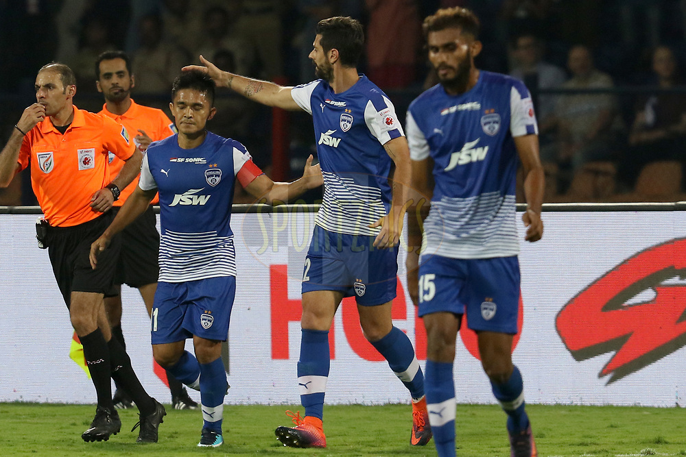 Sunil Chhetri of Bengaluru FC  celebrates the goal during the first semi final 2nd leg of the Hero Indian Super League between Bengaluru FC and FC Pune City  held at the Sree Kanteerava Stadium, Bengaluru, India on the 11th March 2018 <br /> <br /> Photo by: Faheem Hussain / ISL / SPORTZPICS