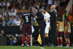 May 9, 2019 - Valencia, Spain - Unai Emery of Asenal  gives instructions  to Lacazette of Asenal during the UEFA Europa League Semi Final Second Leg match between Valencia and Arsenal at Estadio Mestalla on May 9, 2019 in Valencia, Spain. (Credit Image: © Jose Breton/NurPhoto via ZUMA Press)