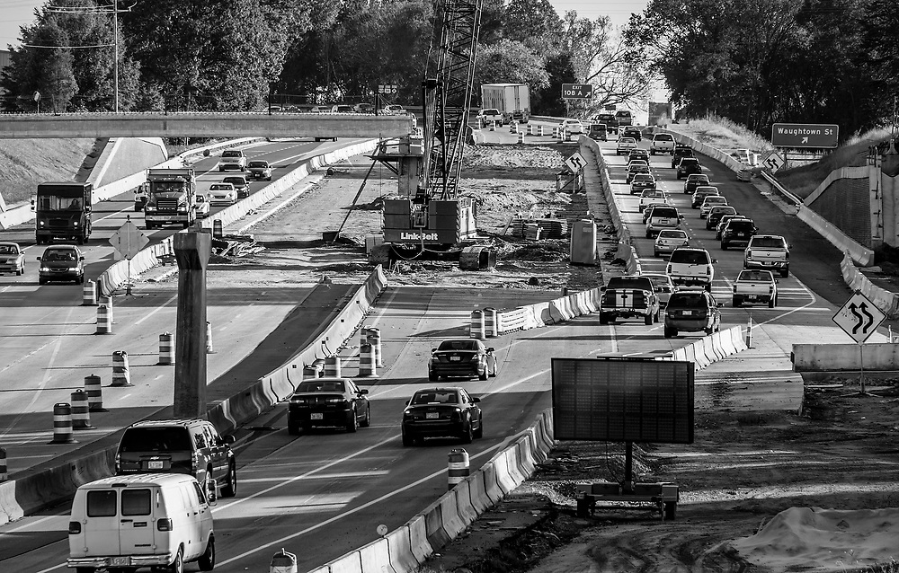 Late in the afternoon rush hour traffic starts to subside in thie southern half of the Hwy 52 Bridge Project in Winston-Salem, NC.