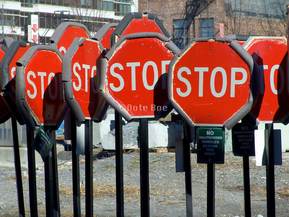 stop signs at a storage depot