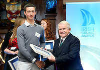 REPRO FREE***PRESS RELEASE NO REPRODUCTION FEE***<br /> Irish Sailing Awards, Royal College of Surgeons, Stephen's Green, Dublin 4/2/2016<br /> National Yacht Club sailor Liam Shanahan was named the 2015 Irish Sailor of the Year today at the Irish Sailing Awards in Dublin - Shanahan had a remarkable year, including victory in the Dun Laoghaire to Dingle race in June on his boat Ruth with two miles to spare.<br /> Kilkenny's Doug Elmes and Malahide's Colin O'Sullivan jointly took home the Irish Sailing Association (ISA) Youth Sailor of the Year award. The Howth Yacht Club sailors were hotly tipped following their recent Bronze medal success at the 2015 Youth World Championships in Malaysia, where they took Ireland's first doublehanded youth worlds medal in 19 years.<br /> The Mitsubishi Motors Sailing Club of the Year award was presented to the Royal Irish Yacht Club in honour of their success at local, national and international level.<br /> Mullingar Sailing Club took home the ISA Training Centre of the Year award, having been nominated as winners of the western-region Training Centre of the Year.<br /> Pictured is Ewan McMahon, Youth Sailor of the Year nominee, Howth Yacht Club, and David Lovegrove, President ISA<br /> Mandatory Credit ©INPHO/Cathal Noonan