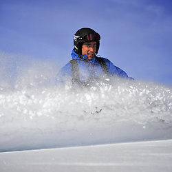 Pedro Patri?cio, rider and Photographer enjoying some last bits of transformed powder in the Val Gardena ski domain.