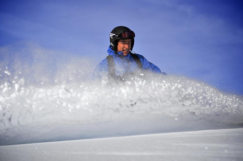 Pedro Patri?cio, rider and Photographer enjoying some last bits of transformed powder in the Val Gardena ski domain.