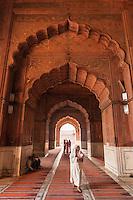 Inside the Jama Masjid mosque in Delhi, India.