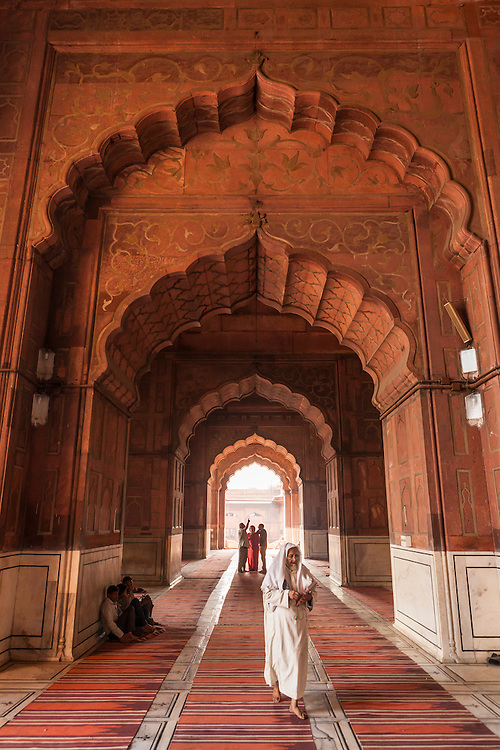 Inside the Jama Masjid mosque in Delhi, India.