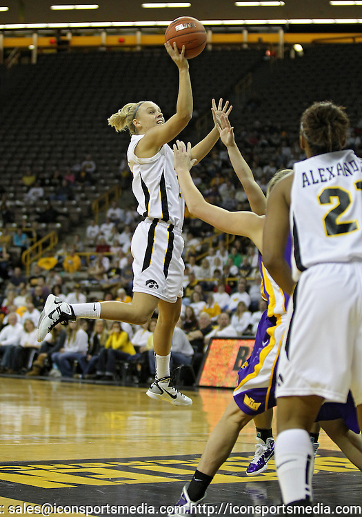 December 22 2010: Iowa guard Jaime Printy (24) puts up a shot during the first half of an NCAA college basketball game at Carver-Hawkeye Arena in Iowa City, Iowa on December 22, 2010. Iowa defeated Northern Iowa 75-64.