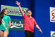 Mensur Suljovic during the 2016 Gibraltar Darts Trophy at the Victoria Stadium, Gibraltar on 8 May 2016. Photo by Shane Healey.
