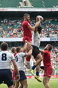 Twickenham, United Kingdom. 2nd June 2018, HSBC London Sevens Series. Game No. 17.     Pool, D. Canadas Admir CEJVANOVIC, cllocts the line out, cahllened by Viadisslav LAZARENKO , during the Canada vs Russia,  played at  theRFU Stadium, Twickenham, England, <br /> <br /> <br /> <br /> <br /> © Peter SPURRIER/ Alamy Live News Pool, D. Canada vs Russia,  played at  theRFU Stadium, Twickenham, England, <br /> <br /> <br /> <br /> © Peter SPURRIER/ Alamy Live News