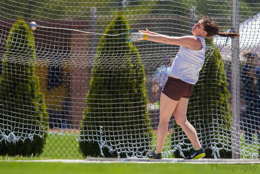 Rowan University's Emily Spieker competes in the women's hammer throw at the NJAC Track and Field Championships at Richard Wacker Stadium on the campus of  Rowan Univeristy  in Glassboro, NJ on Saturday May 4, 2013. (photo / Mat Boyle)
