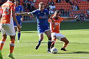 Oldham Athletic Defender, Peter Clarke (26) and Blackpool Forward, Kyle Vassell (7) goal scorer during the EFL Sky Bet League 1 match between Blackpool and Oldham Athletic at Bloomfield Road, Blackpool, England on 26 August 2017. Photo by Mark Pollitt.
