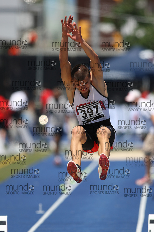 (Toronto, Ontario---26/06/09)   Olivier Gauthier-Kwan competing in  men's long jump qualifying at the 2009 Canadian National Track and field Championships. Photograph copyright Sean Burges / Mundo Sport Images, 2009. www.mundosportimages.com / www.msievents.