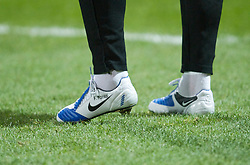 PRESTON, ENGLAND - Saturday, January 3, 2009: The blue and white Nike football boots of Liverpool's Fernando Torres as he warms-up against Preston North End during the FA Cup 3rd Round match at Deepdale. (Photo by David Rawcliffe/Propaganda)