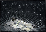 Angels ministering to Jesus after the Devil has left him. Matthew 4. Illustration by JJ Tissot for his 'Life of Our Saviour Jesus Christ' 1897. Oleograph