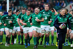 Rory Best of Ireland leads his team off the field at the end of the pre-match warm-up - Mandatory byline: Patrick Khachfe/JMP - 07966 386802 - 27/02/2016 - RUGBY UNION - Twickenham Stadium - London, England - England v Ireland - RBS Six Nations.