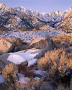Winter, Snow, Sunrise, Sunset, Mt. Whitney, Mount Whitney, Inyo National Forest, California