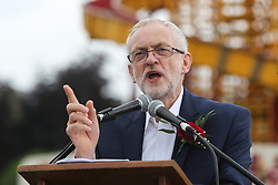 © Licensed to London News Pictures. 09/07/2016. Durham, UK. Labour leader Jeremy Corbyn addresses supporters at the Durham Miners' Gala in County Durham, UK. The gala is a large gathering held annually associated with the coal mining heritage and trade unionism. Photo credit : Ian Hinchliffe/LNP