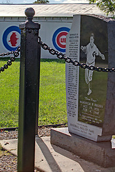06 October 2013:   A sign announcing the memorial for Mordecai Brown near Rockville Indiana has the first name of Three Fingers misspelled.<br /> <br /> This image was produced in part utilizing High Dynamic Range (HDR) processes.  It should not be used editorially without being listed as an illustration or with a disclaimer.  It may or may not be an accurate representation of the scene as originally photographed and the finished image is the creation of the photographer.