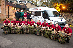 Staff Sgt Jim Offord, (Far right) and team members from 39 Engineer Regiment , Lance Corporal Dean Howard, Corporal Dave Little, Sapper Darren Pallatina, Lance Corporal Rich Holmes, Corporal Mark Cammock, Sapper Garry Scott, Lance Corporal Dave Hopkins, SSgt Darren King, Sapper James Payze, Captain Jo Miles, Sgt Steve Bedford and, Lance Corporal Lee Melia with support team members Ami Offord paramedic and Arlene Howard sports physio. Who will be working to complete the 10 Squaddies, 10 Marathons, 5 Days Challenge carrying 40lb Bergens. The team aimed to raise £4800 for St Dunstan's Charity for blind ex-Service men and women but the figure now stands £10,000 raised...1 November 2010 .Images © Paul David Drabble