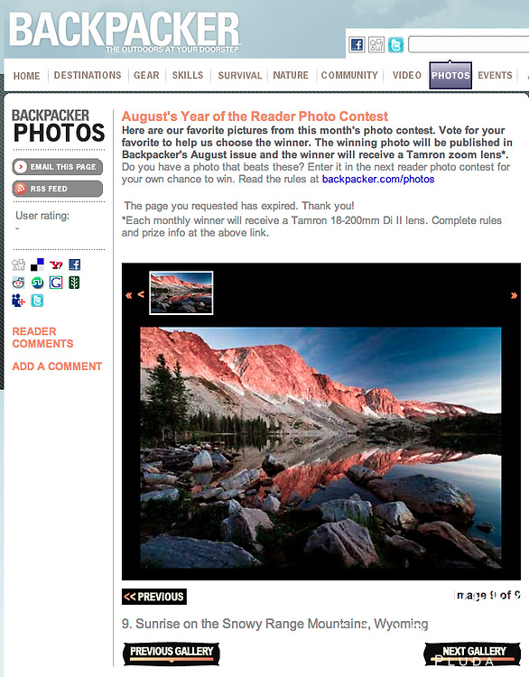 """Sunrise on Lake Marie, Snowy Range, Medicine Bow National Forest, Wyoming 110925"" as 2013 Finalist in Backpacker Magazine's August's Year of the Reader Photo Contest"
