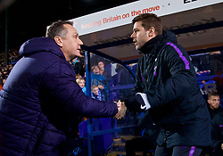 BIRKENHEAD, ENGLAND - Friday, January 4, 2019: Tranmere Rovers' manager Micky Mellon (L) and Tottenham Hotspur's manager Mauricio Pochettino shake hands before the FA Cup 3rd Round match between Tranmere Rovers FC and Tottenham Hotspur FC at Prenton Park. (Pic by David Rawcliffe/Propaganda)