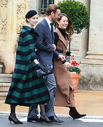 Beatrice Borromeo, Pierre Casiraghi and Princess Alexandra of Hanover. The royal family of Monaco going to the St. Nicholas Cathedral for the beginning of the National Day festivities on November 19th 2019.