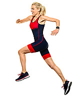 one caucasian woman practicing triathlon triathlete ironman runner running jogger jogging in studio shot  isolated on white background