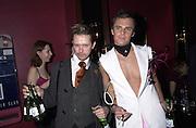 Jason Grey and Edward Trimble. Toni & Guy/M & P models party. Mayfair Club. 7 December 2000. © Copyright Photograph by Dafydd Jones 66 Stockwell Park Rd. London SW9 0DA Tel 020 7733 0108 www.dafjones.com